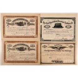 Four Pennsylvania Passenger Railway Stock Certificates  (111256)