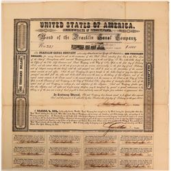 Franklin Canal Company in Aid of their Railroad, $1,000 Bond Certificate, 1851  (111072)