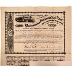 Charleston & Savannah Railroad Bond Certificate, 1856  (111064)