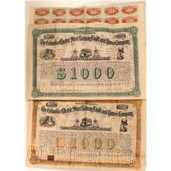 Pair of Columbia Electric Street Railway Bonds, Gold & Green Varieties  (111090)
