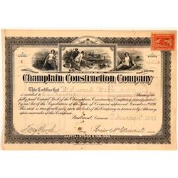 Champlain Construction Company Stock Certificate #1 dated 1899  (111074)