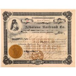 Alberene Railroad Co Stock Certificate, 1898  (111157)