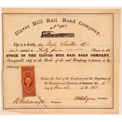 Clover Hill Rail Road Co Stock Certificate, Virginia, 1868  (111213)