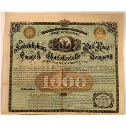 Fredericksburg, Orange & Charlottesville Rail Road Co Bond, 1872  (111071)