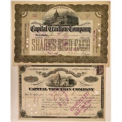 Capital Traction Stock Certificates- 2 Different, 1895, 1899  (111293)