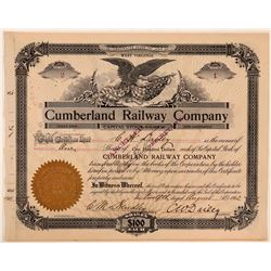 Cumberland Railway Co Stock Certificate #2, 1902  (111189)
