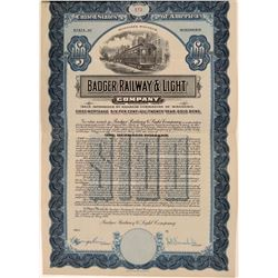 Badger Railway & Light Co Gold Bond Certificate  (111235)