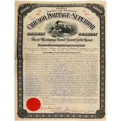 Chicago, Portage & Superior Railway Co $1,000 Land Grant Gold Bond  (111133)