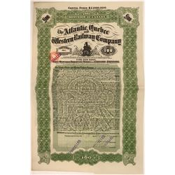 Atlantic, Quebec & Western Railway Co Bond Certificate, 1910  (111325)