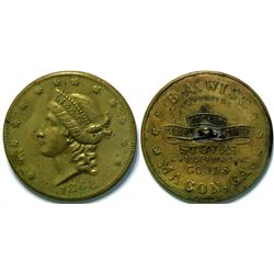 SHELL CARD / B-GA-420 / GA, Macon / B.A. Wise/ $20- 1868D / Made Into Button  (111487)