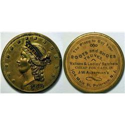 SHELL CARD / B-NJ-660/ NJ, Paterson / J.W. Ackerman / $20- 1868  (111512)