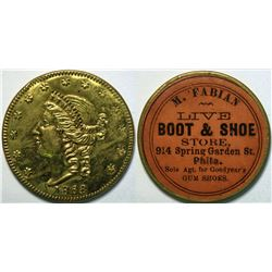 SHELL CARD / B-PA-Unlisted / PA, Philadelphia / M. Fabian Boot & Shoe Store / $20- 1868  (111507)