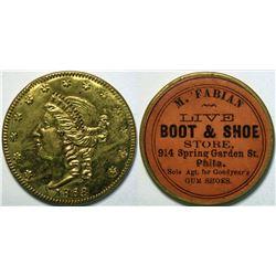 SHELL CARD / B-PA-Unlisted / PA, Philadelphia / M. Fabian Boot & Shoe Store / $20- 1868  (111507)