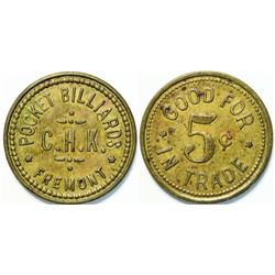 Pocket Billiards C.H.K., Fremont, Washington Token, Unlisted  (111434)