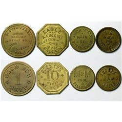 Sutter Creek, CA Gold Rush Town Tokens (4), Saloon, Bar & Billiards  (112890)
