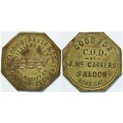 J. McCargers Saloon, Nord, Cal Token  (112938)