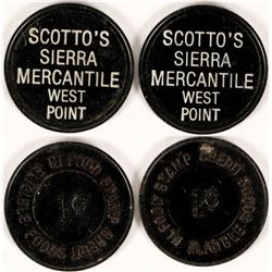 Scotto's Sierra Mercantile, West Point, Cal Tokens (2)  (112879)