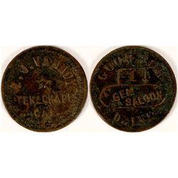 Z.J.Vannoy, Tehachapi, Cal, Gem Saloon Drink Token- Rare  (112856)