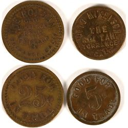 Otto Mikelson, The Roi Tan, Torrance, Cal. Tokens (2)  (112861)