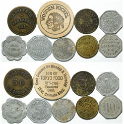 Pasadena, Cal. Token Group (9) Includes 3 Cigar Stores  (111448)