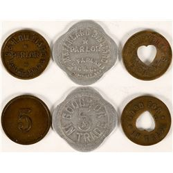 McFarland, Cal. Billiard Parlor Tokens (3)  (112829)