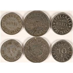 Set of 3 Spreckels, Cal. Hotel Tokens  (112835)