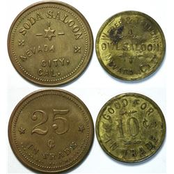 Two Different Nevada City Saloon Tokens  (112933)
