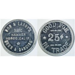 Dan & Larry's Beer & Dancing, Norco, Cal. Token  (112937)