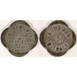 Golden Gate Saloon & Pool Room, Sacramento Token, Rare  (112683)