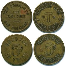Two Tokens From Oak Park, Cal Including The Terminus Saloon  (112939)