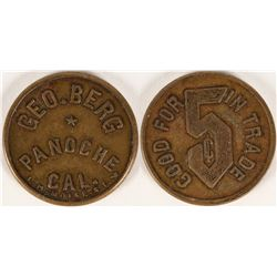 Geo. Berg, Panoche, California Token  (112892)