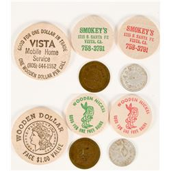 Vista, California Tokens & Wooden Nickels (5)  (112871)