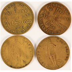 Art Saloon, San Francisco Tokens (2)  (112685)