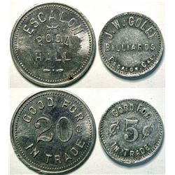 Escalon Pool Hall & J.W. Coley Billiards Tokens, Escalon, Cal.   (111446)