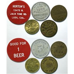 Lodi, California Tokens (5) Includes Three From Pool Halls  (112897)