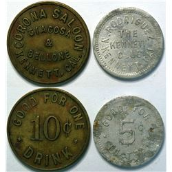 2 Tokens from Kennett, California Including the Corona Saloon  (112942)