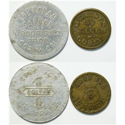 Two Saloon Tokens from Coram, California  (111420)