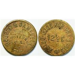 Neuber & Campbell Token, Hutton, California (Siskiyou County) Rare  (111422)