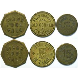 3 Tokens from Dixon, California  Including Dixon Pool Hall  (111447)