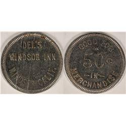 Del's Windsor Inn, Windsor, Calif. Token, Rare Locale  (112882)