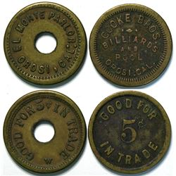 Two Billiard Parlor Tokens from Orosi, California (Tulare County)  (112941)