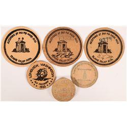 Washington early wooden nickels  (112299)
