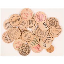 Various States wood nickels  (112456)