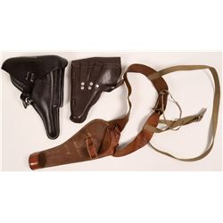 Vintage Leather Pistol Holster Group of 3, with Rare Heiser-Denver 126 Skeleton Model  (108781)
