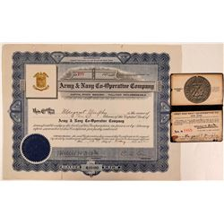 Army & Navy Co-Operative Company Stock Certificate & Membership Card  (107769)