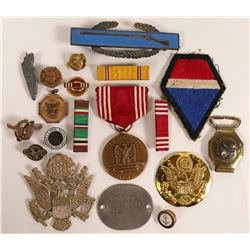 WWII Military Decoration of Good Conduct, Assorted Navy Pins, Dog Tag (Lot of 20 pieces)  (109933)