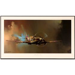 Spitfire  Barrie A. F. Clark Framed Print - Wing Lights Wired with LED Lights!    (108787)