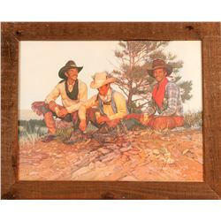 Cowboys On A Knoll / Coors Beer Advertising Framed Print  (109624)