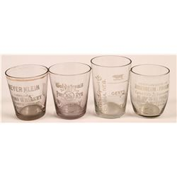 Nebraska Vintage Whiskey Shot Glass Group (4)  (112587)