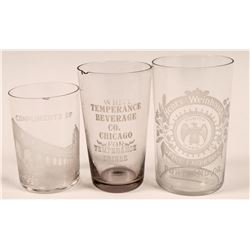 Vintage Etched Beer Glasses (3)  (112634)